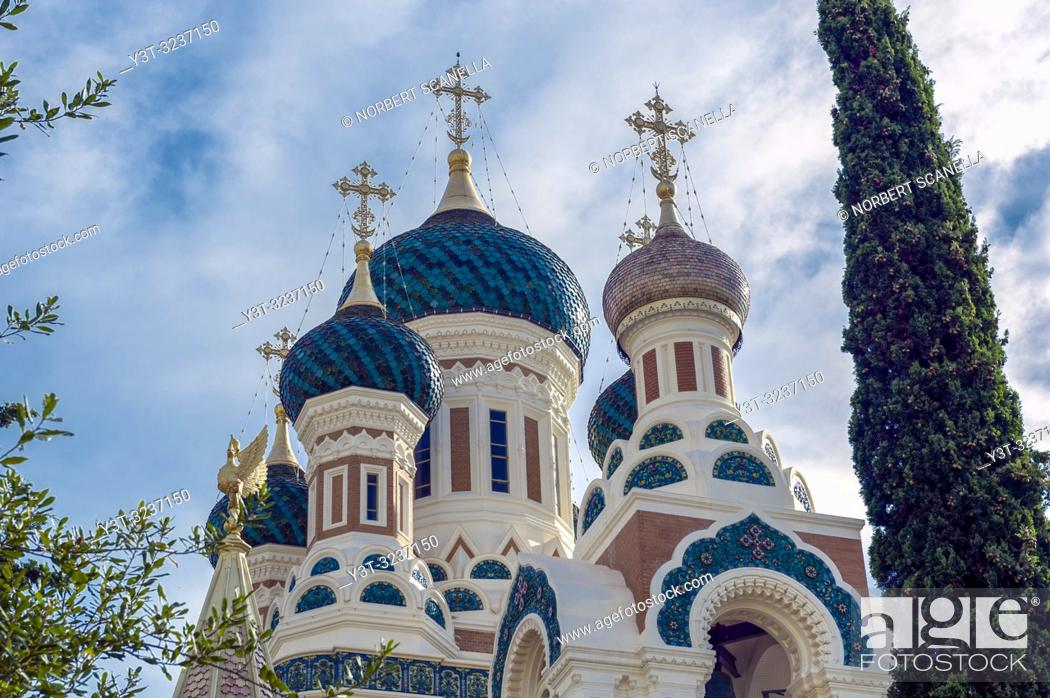 Stock Photo: France. Alpes-Maritimes (06) Nice. The Russian Orthodox Cathedral Saint Nicolas (opened in 1912).