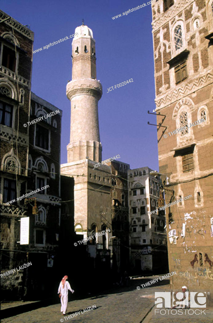 Stock Photo: Yemen, Sanaa, minaret.