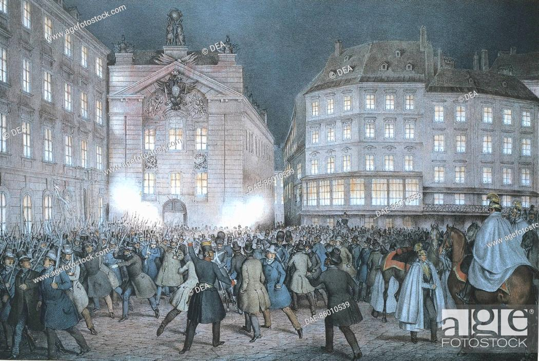 Stock Photo: Ferdinand Hofbauer (1801-1864), The Students Receiving the Weapons at the Eve of March 13, 1848.  Vienna, Historisches Museum Der Stadt Wien (History Museum).