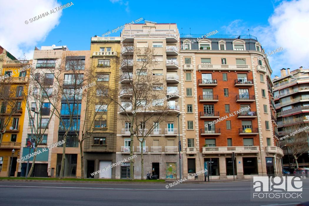 Stock Photo: Facades of Buildings in Diagonal, 316. Photo taken in Barcelona, Spain, Europe.