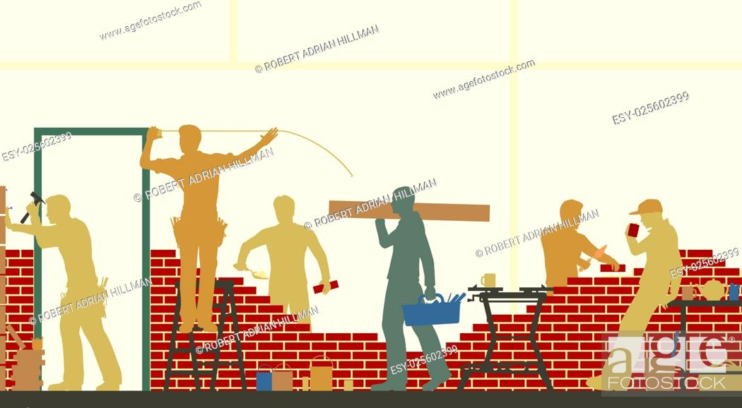 Stock Vector: Editable vector illustration of construction workers at a building site.