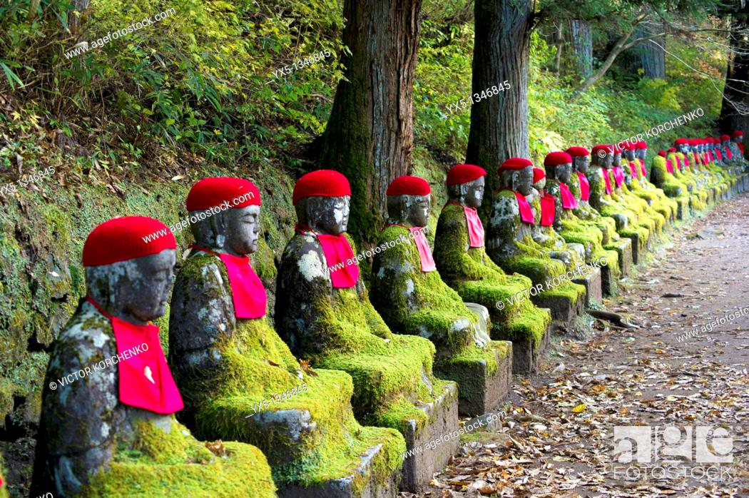 Stock Photo: Jizo Bodhisattva statues in Kanmangafuchi Abyss in Nikko, Japan.