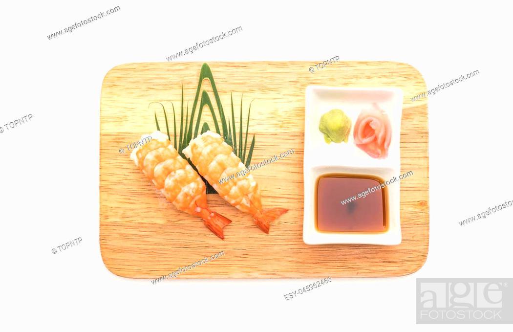 Stock Photo: shrimp sushi nigiri - japanese food style on white background.
