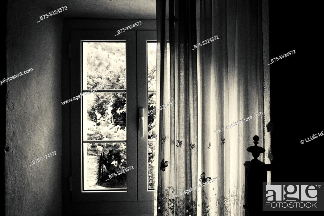 Stock Photo: Interior with window in a village house.Santo- Pietro-de Tenda, Corsica, France, Europe.