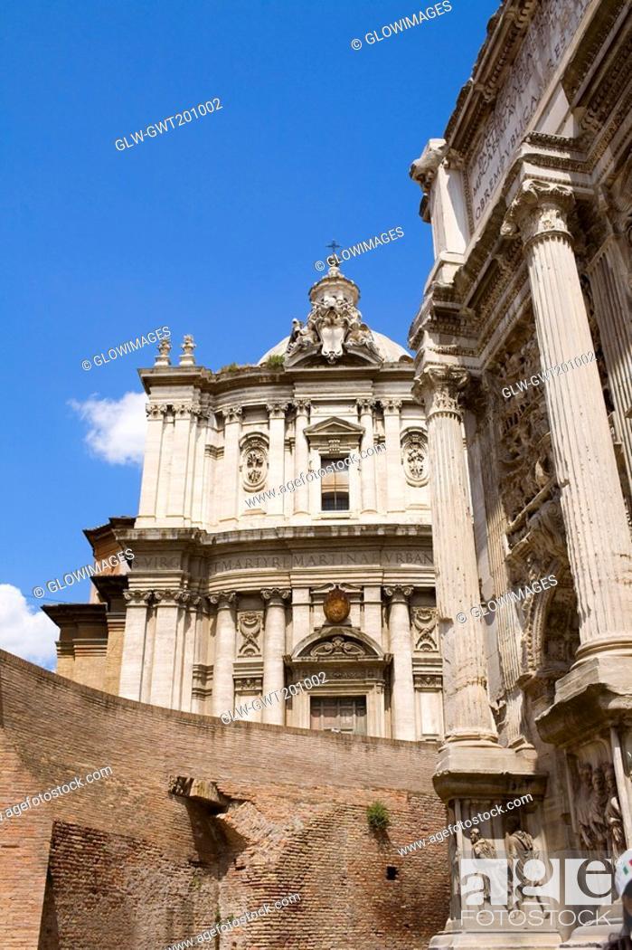 Stock Photo: Low angle view of a church, Santi Luca e Martina, Rome, Italy.