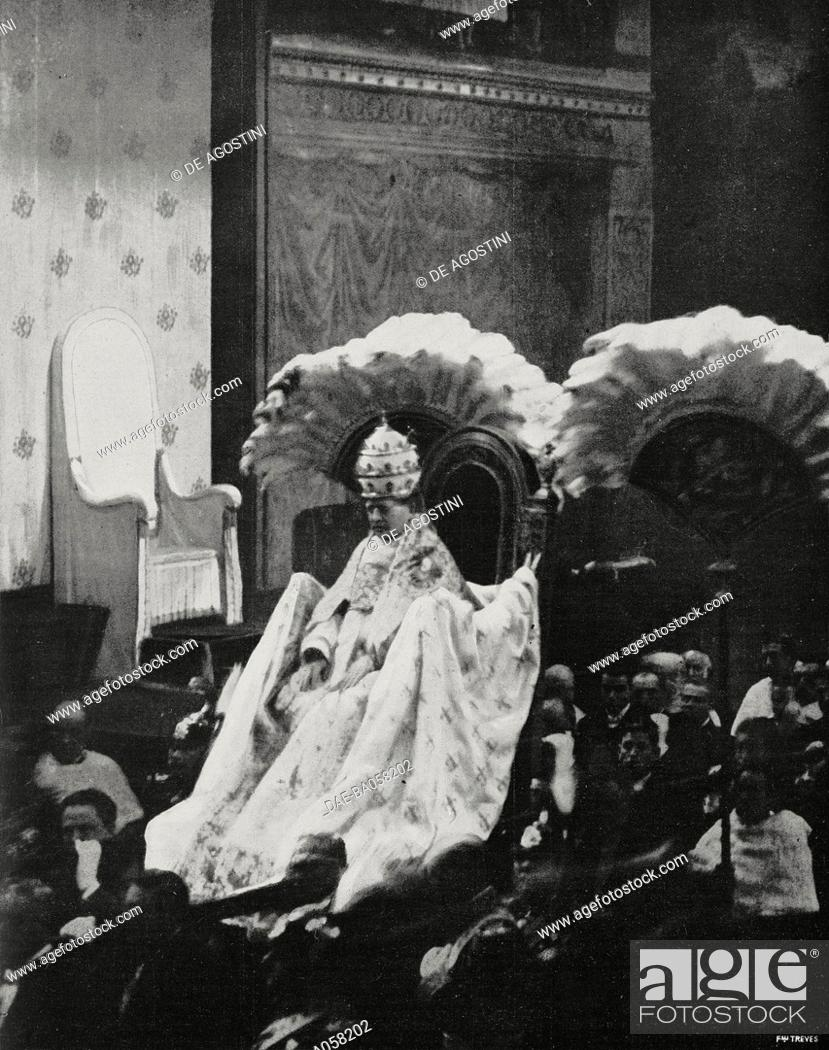 Stock Photo: Pope Pius XI on the gestatorial chair on the occasion of the 1st anniversary of his election, February 12, 1923, Sistine Chapel, Vatican City.