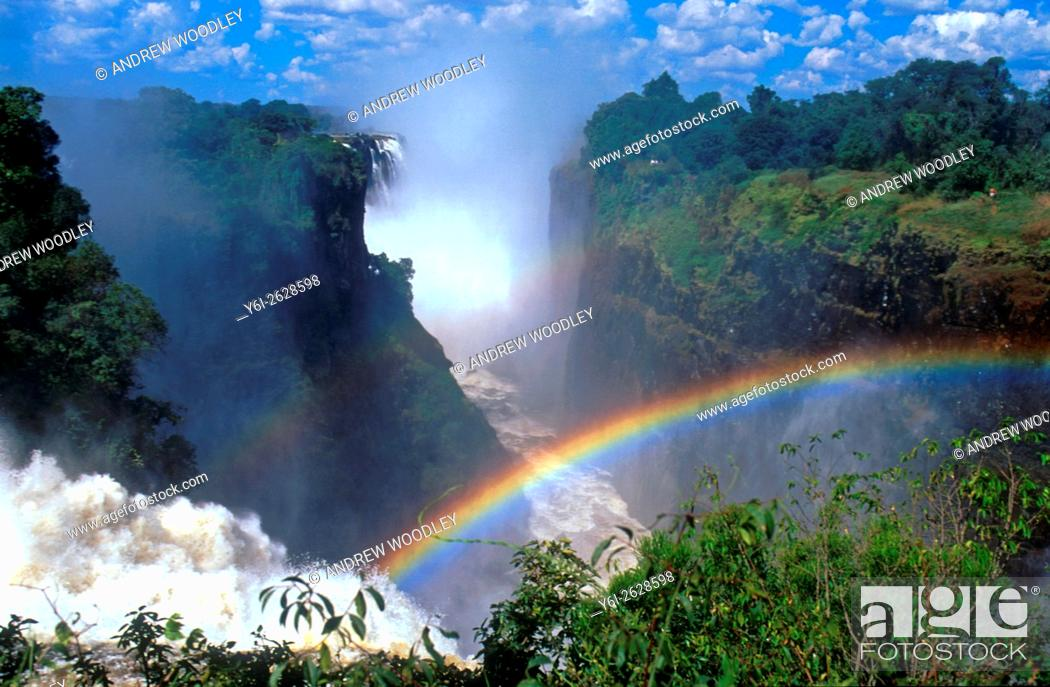 Stock Photo: Aerial image of Victoria Falls with rainbow Mosi-oa-Tunya Zimbabwe.