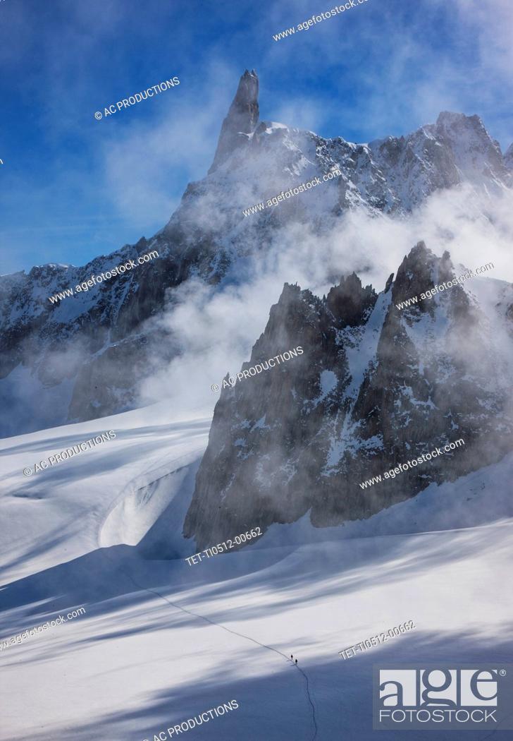 Stock Photo: France, Haute-Savoie, Chamonix, Mont Blanc, Glacier in Mont Blanc Massif.