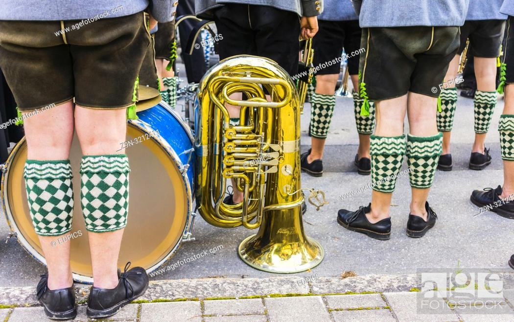 Stock Photo: bavarian marching band dressed in traditional garment on the occasion of the- partenkirchner festwoche- during the traditional parade, garmisch-partenkirchen.