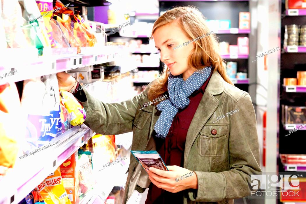 Stock Photo: Woman in supermarket.