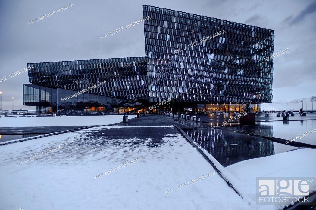 Stock Photo: Harpa Concert Hall building at Reykjavik Harbour in winter, Iceland.