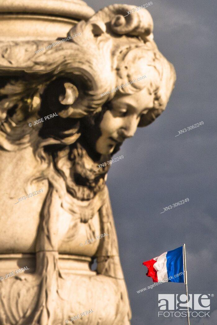 Stock Photo: French flag, Pont Alexandre III, River Seine, Paris, France, Europe.