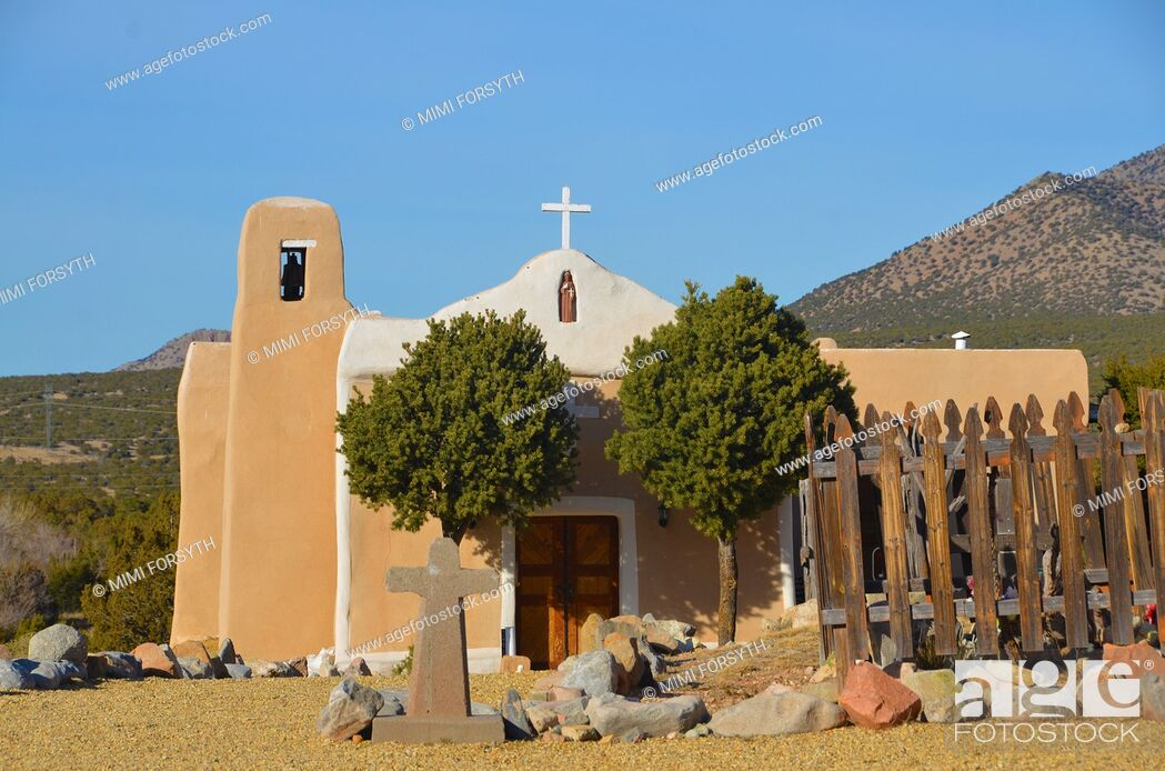 Stock Photo: San Francisco de Asis church, Golden, New Mexico, built 1839.