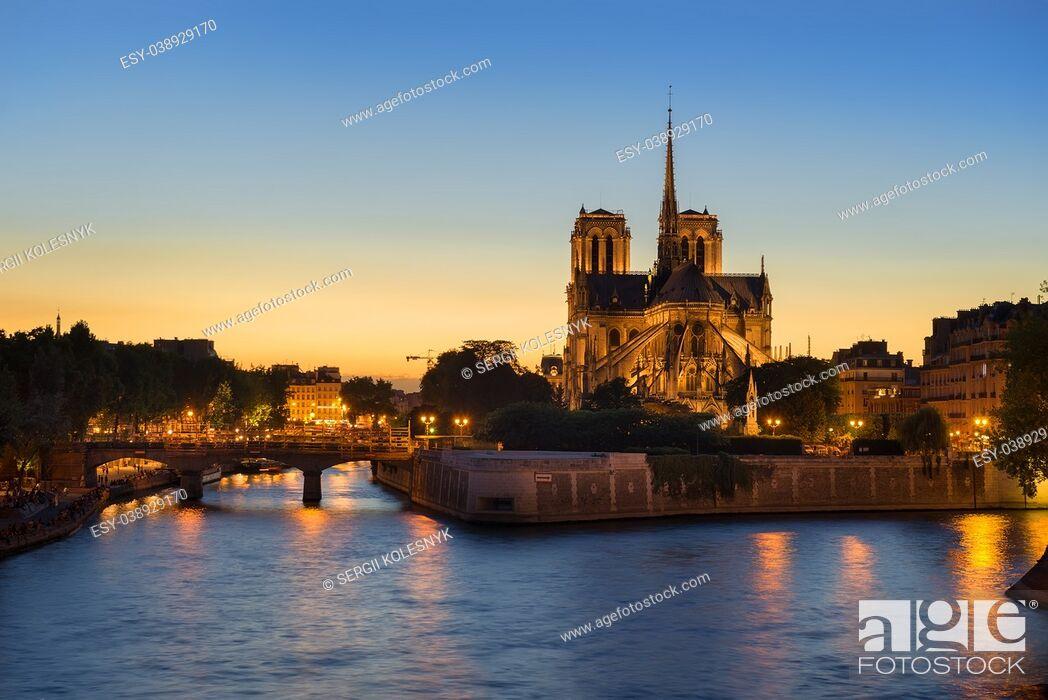 Stock Photo: Notre Dame de Paris in the evening, France.