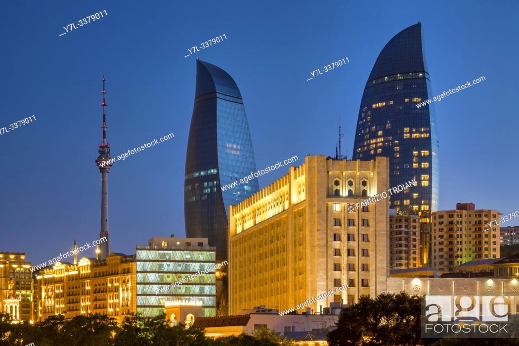 Stock Photo: Flame towers and TV Tower, Baku, Azerbaijan.
