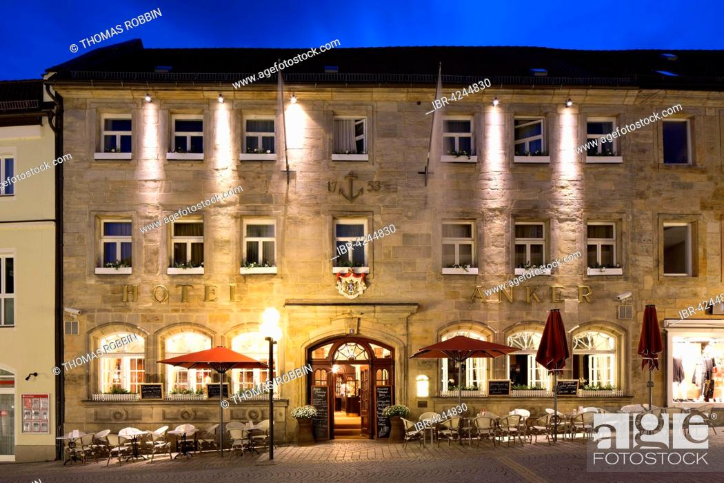 Stock Photo: Hotel and restaurant Goldener Anker at dusk, Bayreuth, Upper Franconia, Bavaria, Germany.