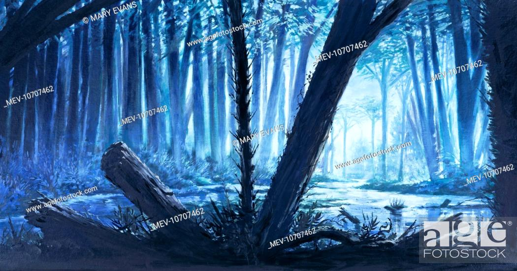 Artists Impression Of The Swamp Forests Of Ferns And Other Non