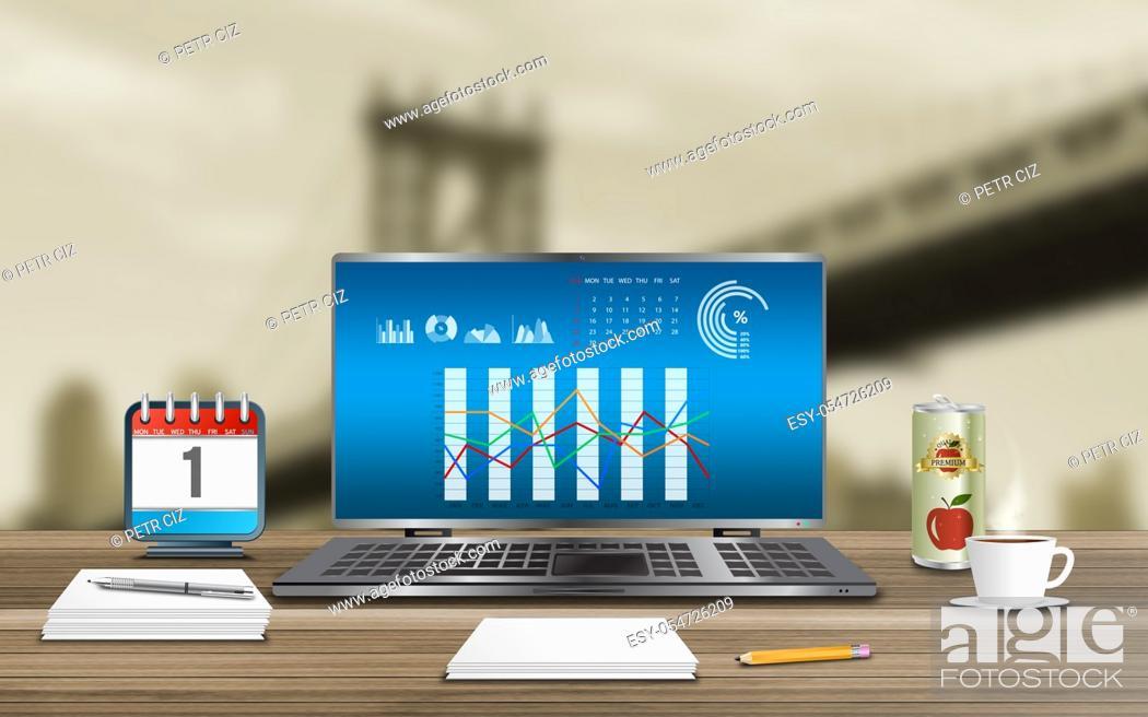 Stock Photo: Statistics and data analysis in background bridge.