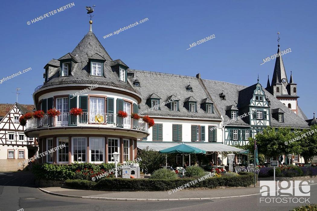 Stock Photo: Germany, Hesse, Rhine-district, Oestrich-Winkel, hotel swan,.
