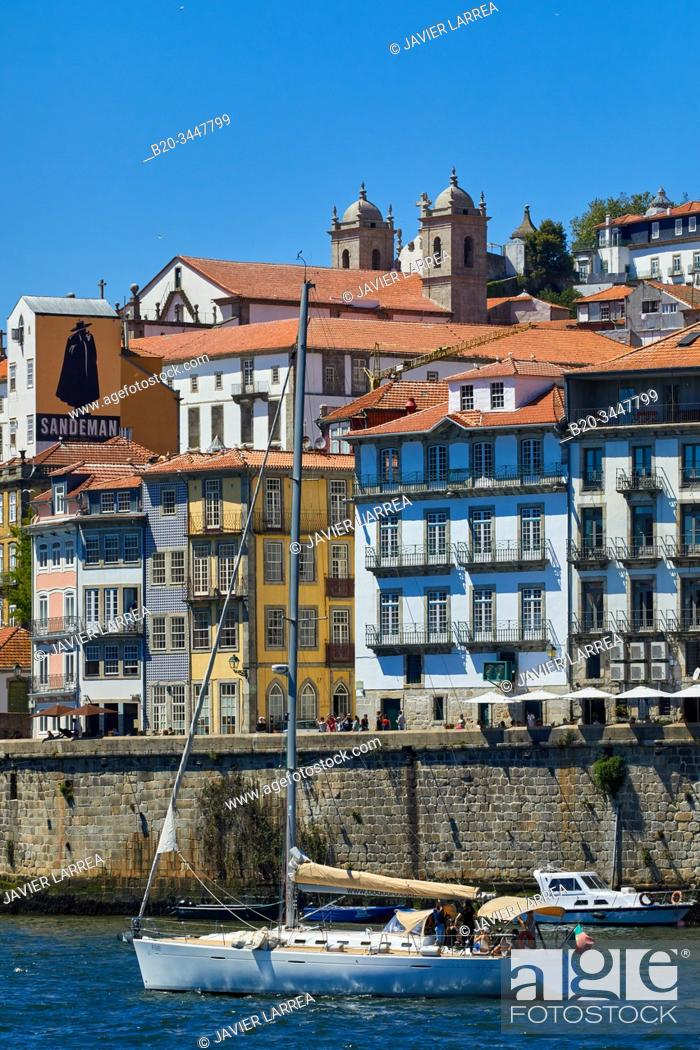 Stock Photo: Tourist boats, Rio Douro river, Cais da Ribeira, Porto, Portugal.