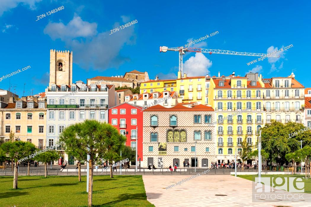 Stock Photo: The former parking lot at the Campo das Cebolas, now a new green area and public space in the Alfama district of Lisbon.