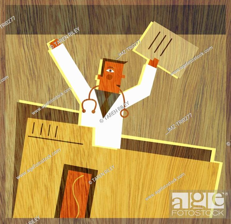 Stock Photo: A physician holding documents in the air and standing up from inside a large file folder.