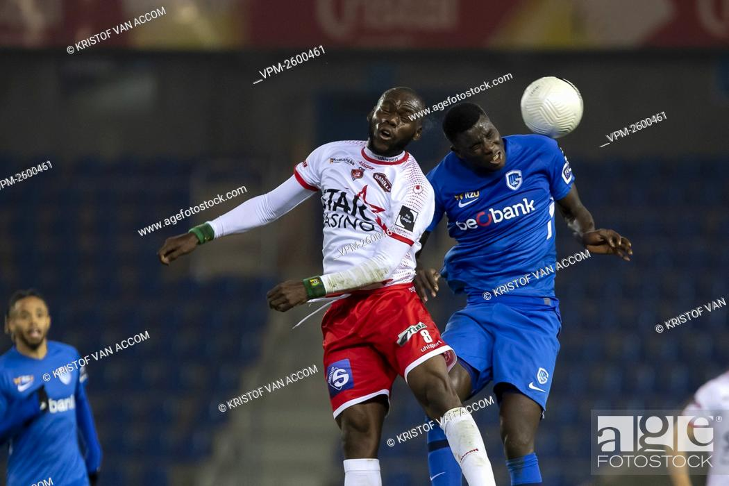 Mouscron S Jean Onana And Genk S Paul Onuachu Fight For The Ball During A Soccer Match Between Krc Stock Photo Picture And Rights Managed Image Pic Vpm 2600461 Agefotostock