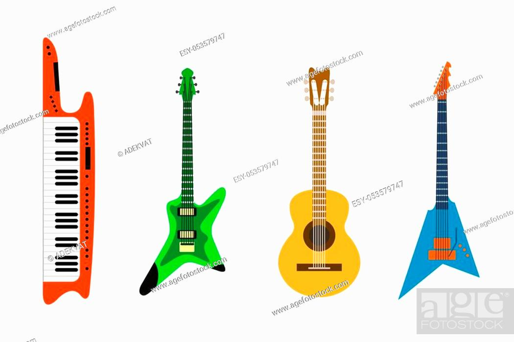 Stock Vector: Acoustic and electric guitars vector icons set illustration. Guitars isolated on white background. Guitars silhouette. Music, concert, sound, fun, guitars.
