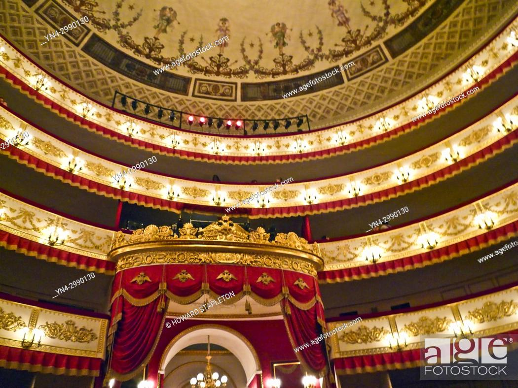 Stock Photo: Interior of the Alexandrinsky Theatre in St. Petersburg, Russia. Shown are the balcony levels and part of the building's domed ceiling.