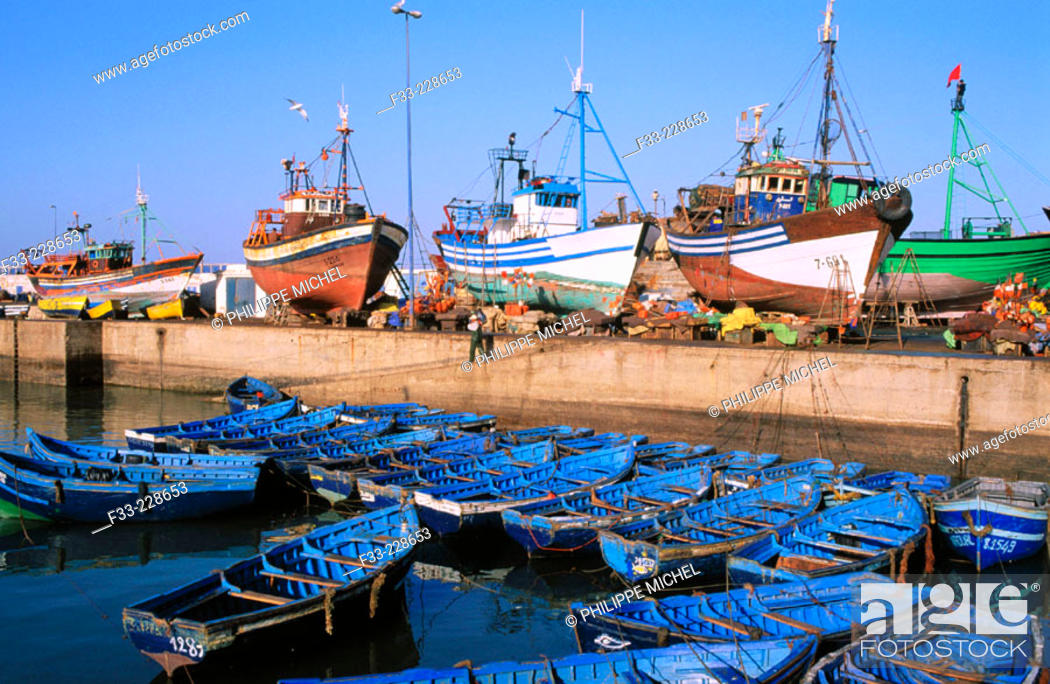 Stock Photo: Essaouira fishing harbour. Morocco.