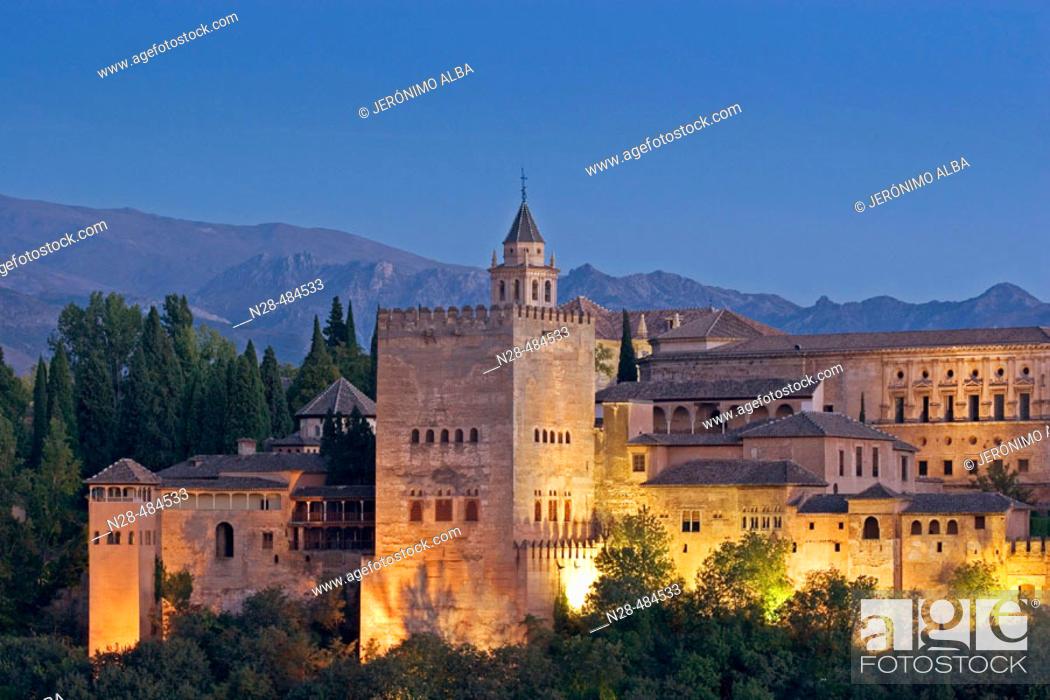 Stock Photo: Evening view of the Alhambra from the Mirador de San Nicolas. Granada. Andalucia. Spain.