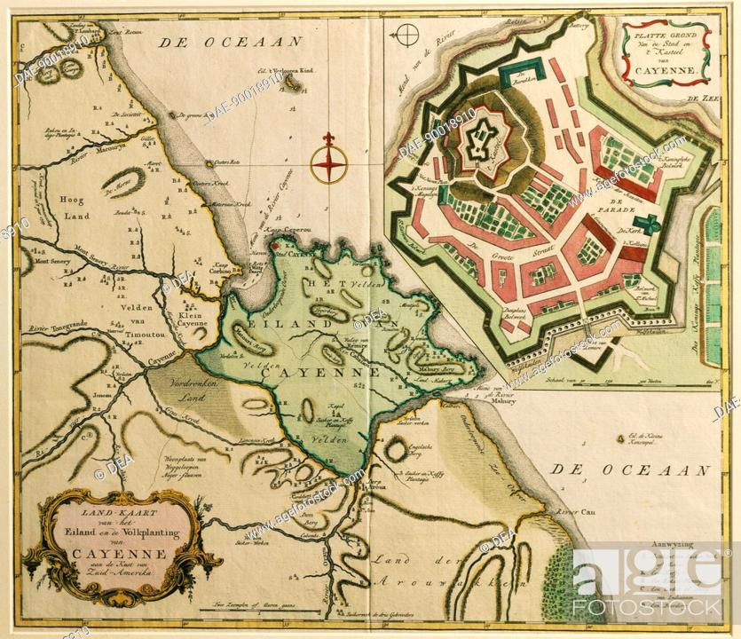 Cartography French Guyana 17th century Map of Cayenne Stock