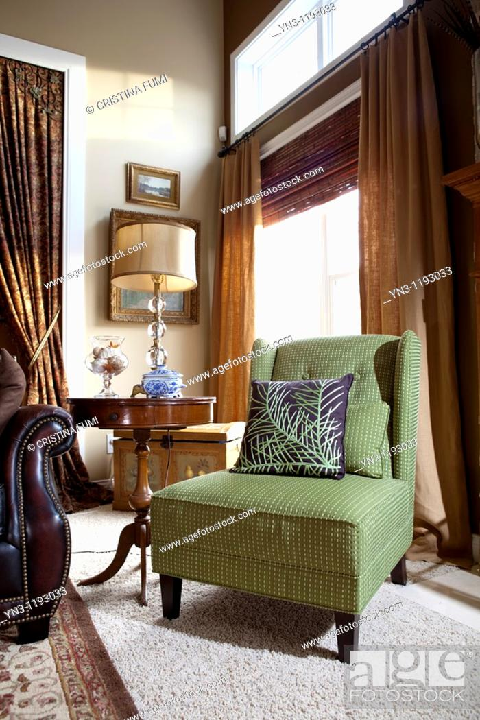 Apple Green Fabric Armchair In American Contemporary Living Room Corner Stock Photo Picture And Rights Managed Image Pic Yn3 1193033 Agefotostock