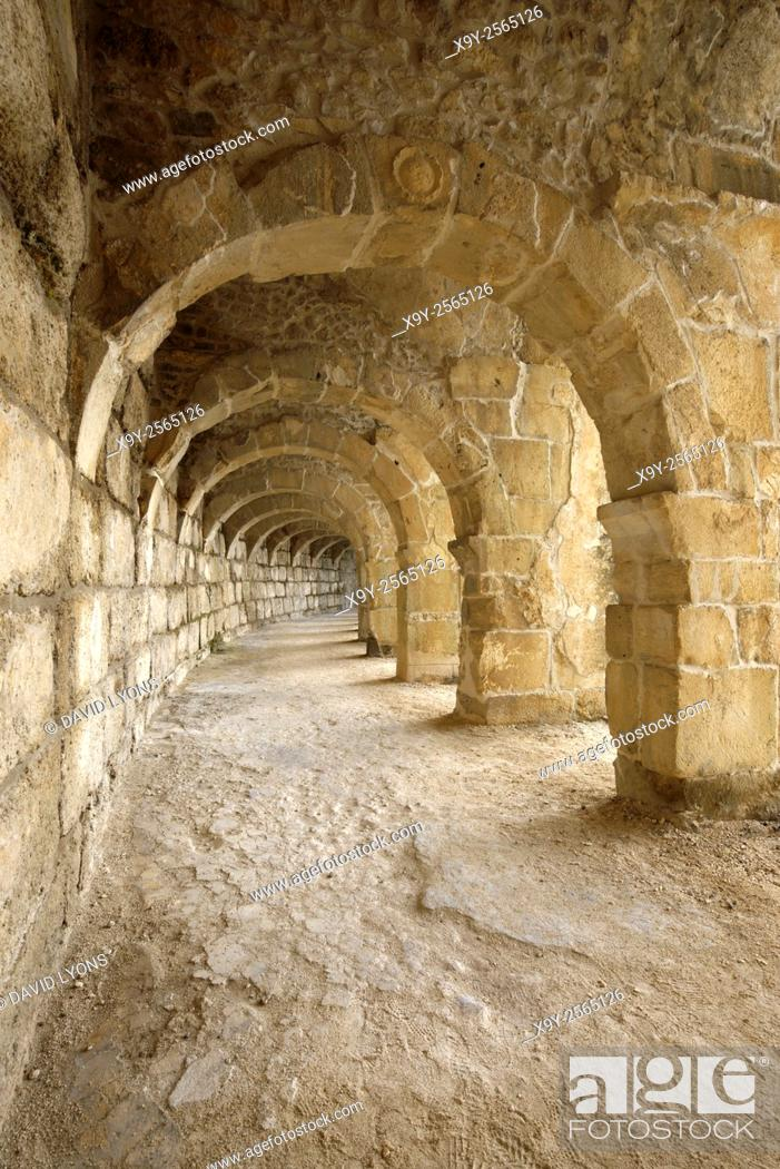 Stock Photo: Roman theatre in ancient Greco-Roman city of Aspendos, southern Turkey. Arches of the colonnaded gallery of the highest level.