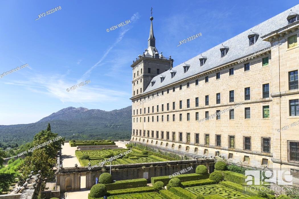 Stock Photo: San Lorenzo de El Escorial, Madrid Province, Spain. The monastery of El Escorial. The monastery and its historic surroundings are a UNESCO World Heritage Site.