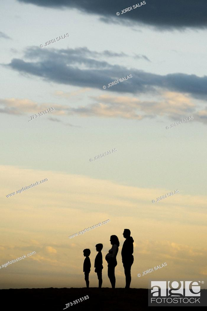 Stock Photo: Silhouette of a Family on the beach.