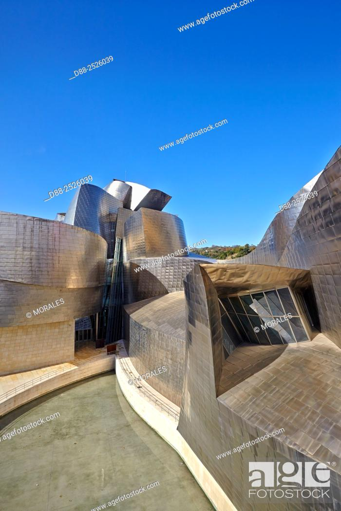 Stock Photo: Europe, Spain, Basque country, Bilbao, Guggenheim Museum by Frank O. Gehry.