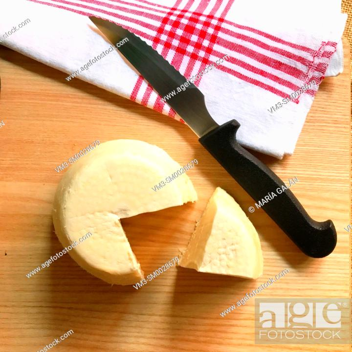 Stock Photo: Afuega'l Pitu cheese, view from above. Asturias, Spain.