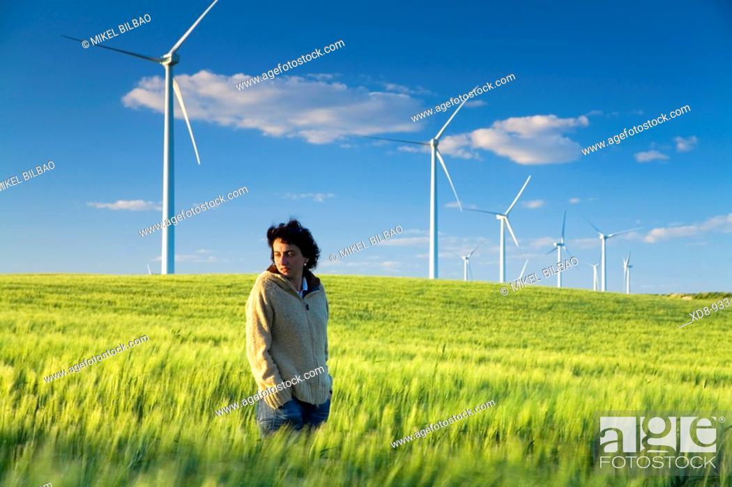Stock Photo: wind turbines at sunset. Near Sanlucar de Barrameda, Cadiz province, Spain, Europe.