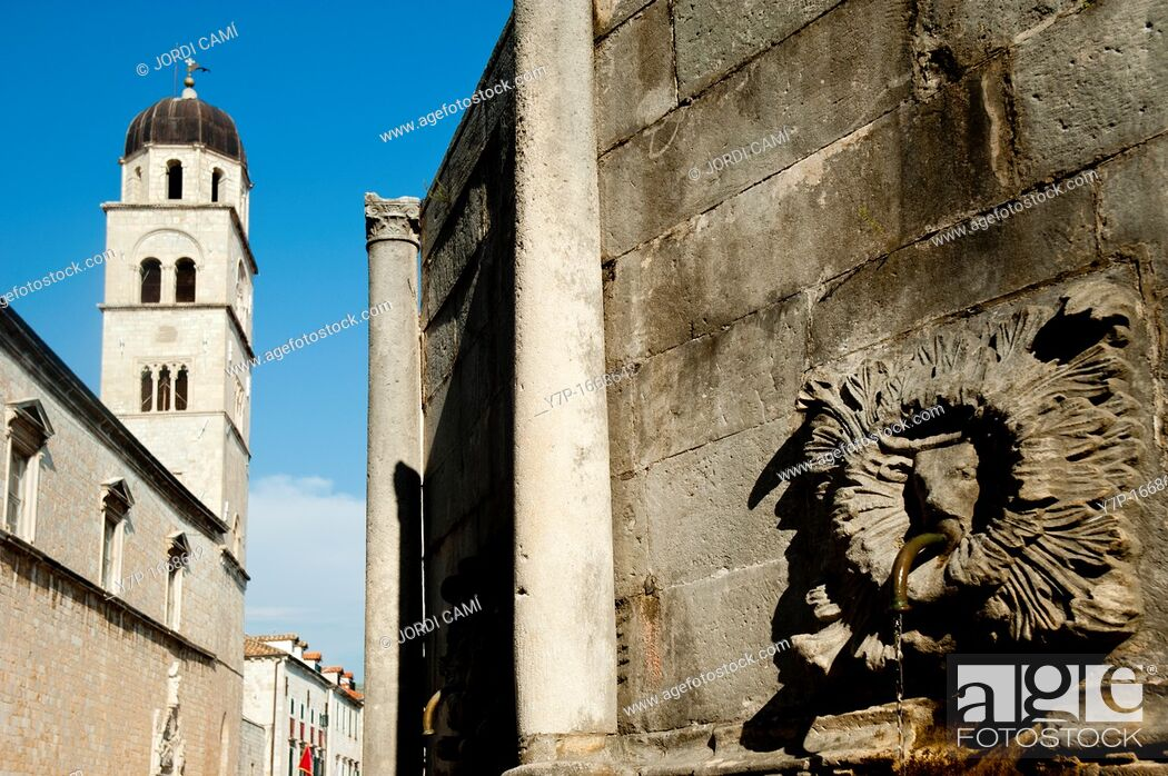 Stock Photo: Onofrio Fountain with Franciscan monastery in background , Old Town, Dubrovnik  Croatia.