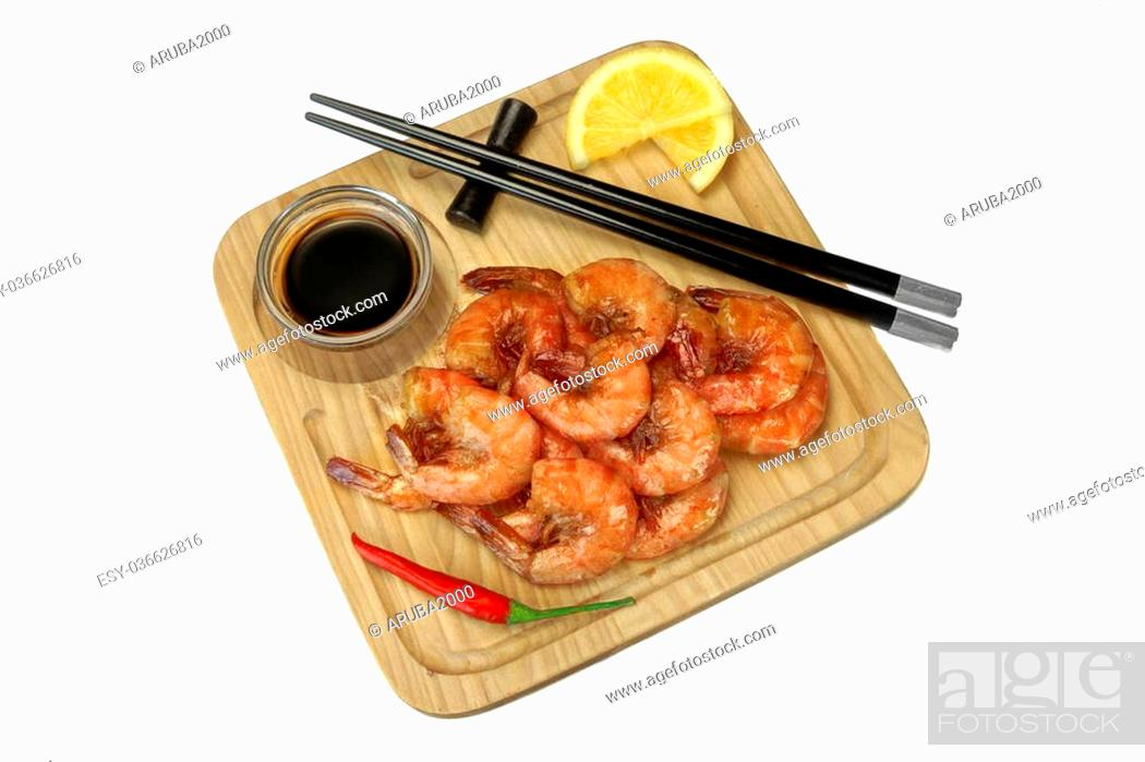 Stock Photo: Grilled Red King Size Shrimps Or Prawns With Sauce, Chili Pepper and Lemon, Served With Wood Chopsticks On Wood Board Isolated On White Background, Close Up.