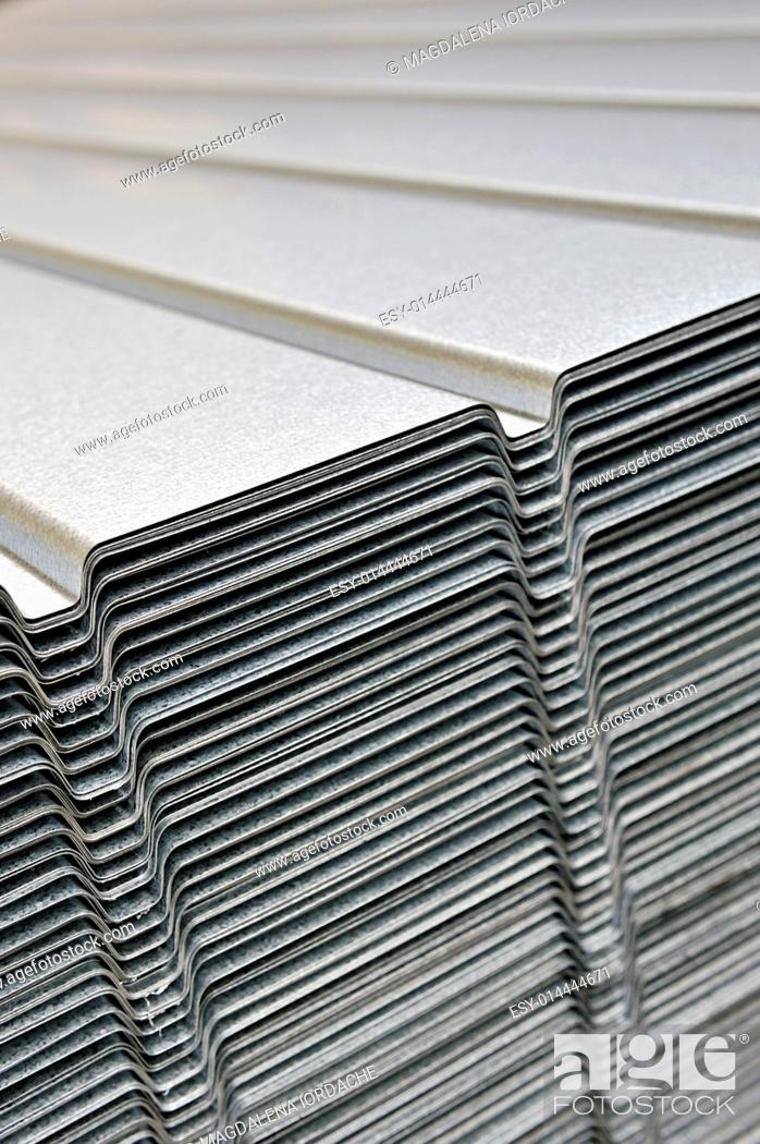Stock Photo: Stack of corrugated steel sheet.