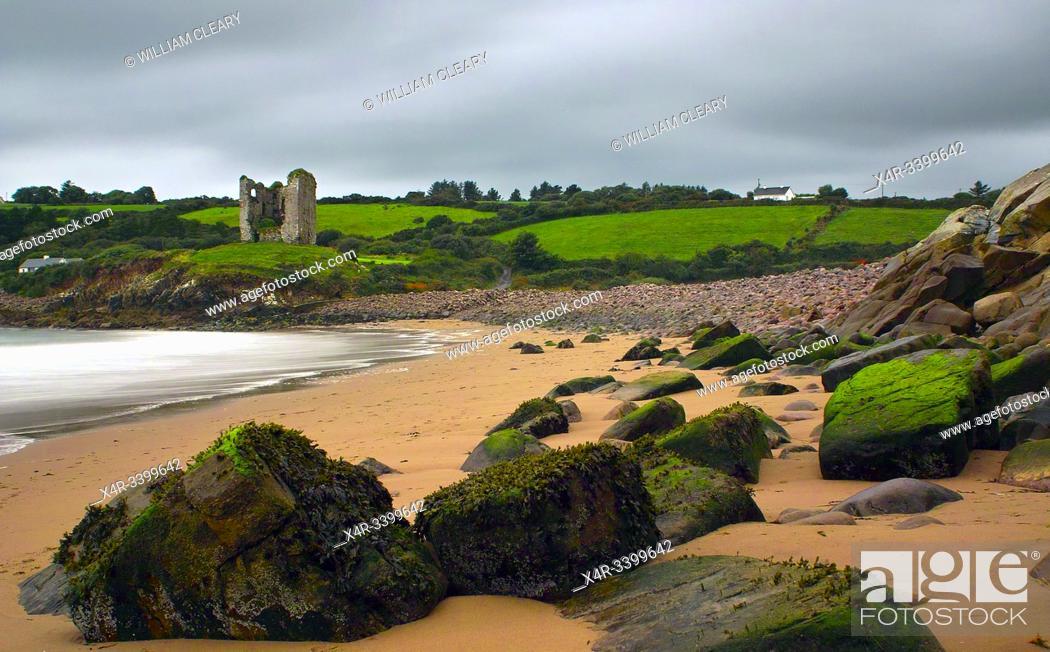 Stock Photo: Minard Beach and Minard Castle, Dingle Peninsula, County Kerry, Ireland.
