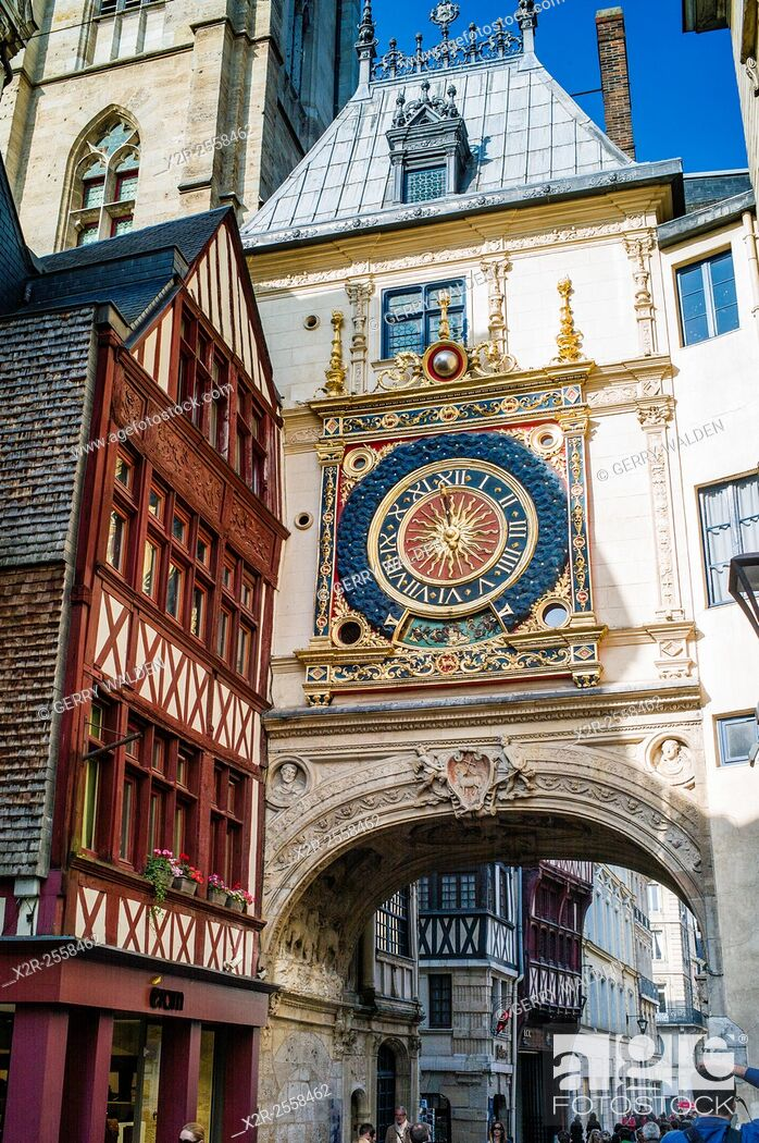 Stock Photo: The Renaissance Gros Horologe is situated in the Rue du Gros Horologe in Rouen, Normandy. Its original movement dates back to 1389.