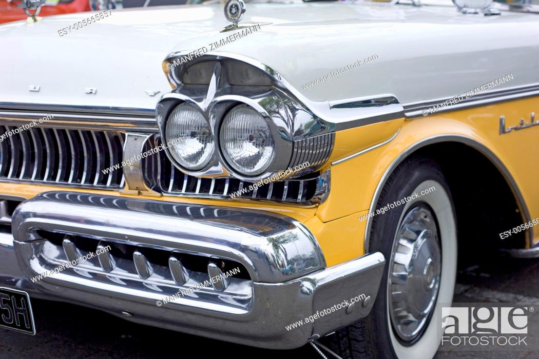 Stock Photo: Partial view with a lot of chrome from the U.S. Mobiel.