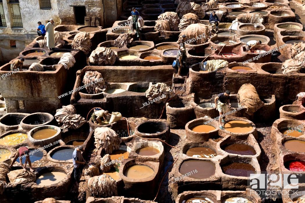 Stock Photo: Morocco, Fes, Chouara tannery.