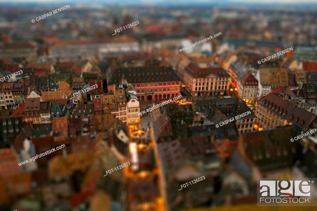 Stock Photo: Tilt-shift of an abundance of apartment buildings in a residential district, Strasbourg, France.