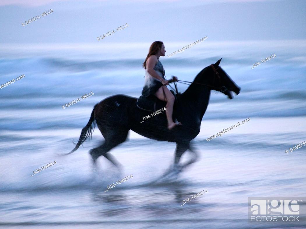 Stock Photo: Horseback rider on the beach in Morro Bay, California, United States.