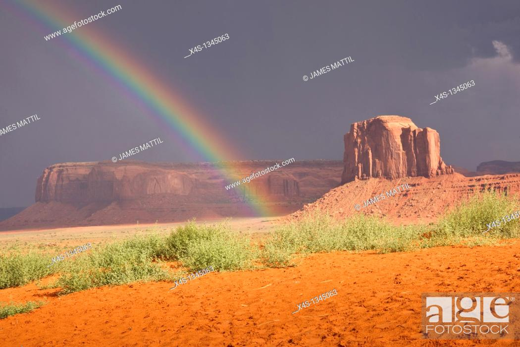 Stock Photo: Rainbow's end in Monument Valley, Navajo Nation, USA.