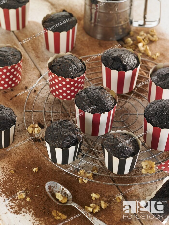 Stock Photo: muffins de chocolate con nueces en tarrinas / chocolate muffins with walnuts.